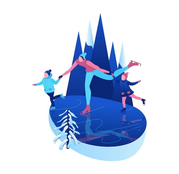 Izometryczne ludzi na łyżwach