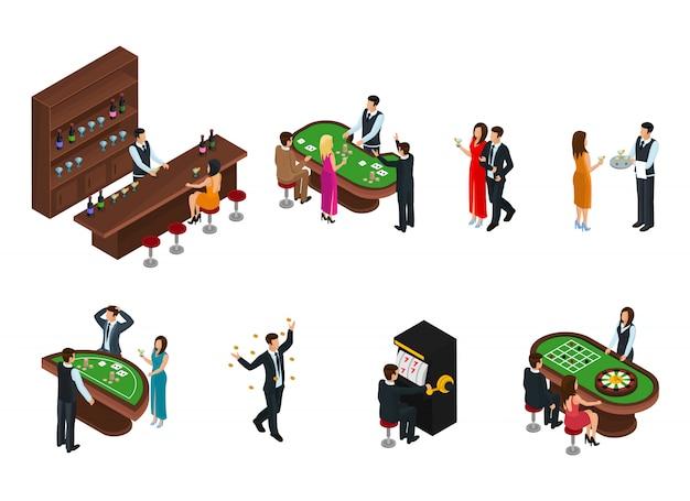 Izometryczne ludzi w zestawie kasyna