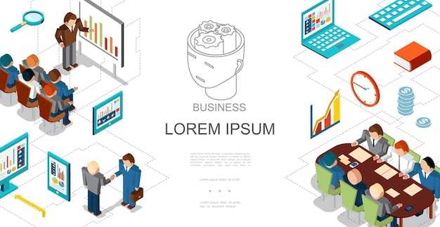 Izometryczne ludzie biznesu i elementy szablon z konferencyjnym spotkaniem prezentacji monety lupa zegar wykres laptop tablet ilustracja