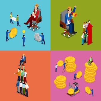 Izometryczne ludzie biznesu. praca zespołowa, inwestycje pieniężne i koncepcja sukcesu finansowego. płaskie ilustracji wektorowych