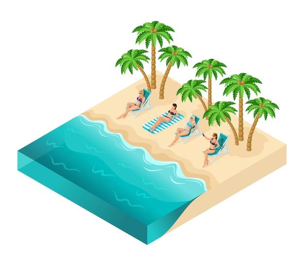 Izometryczne ludzie dziewczyna, turyści 3d, dziewczyny relaks nad oceanem, plaża, ocean, piasek, palmy, odpoczynek, opalanie, kobiety w kostiumach kąpielowych, wakacje, na białym tle
