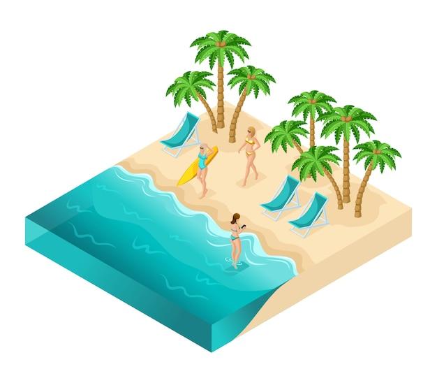 Izometryczne ludzie dziewczyny, turyści 3d, dziewczyny relaksujące się na oceanie, plaża, piasek, palmy, odpoczynek, opalanie się, kobiety w strojach kąpielowych, deska surfingowa, dziewczyny w wodzie