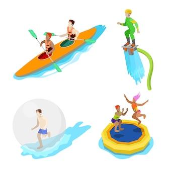 Izometryczne ludzie na aktywność wody. kajaki, człowiek na flyboard i trampolina. płaskie ilustracji wektorowych