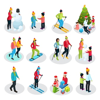 Izometryczne ludzie na ferie zimowe z rodzicami i dziećmi uprawiającymi sport i inne zajęcia na białym tle