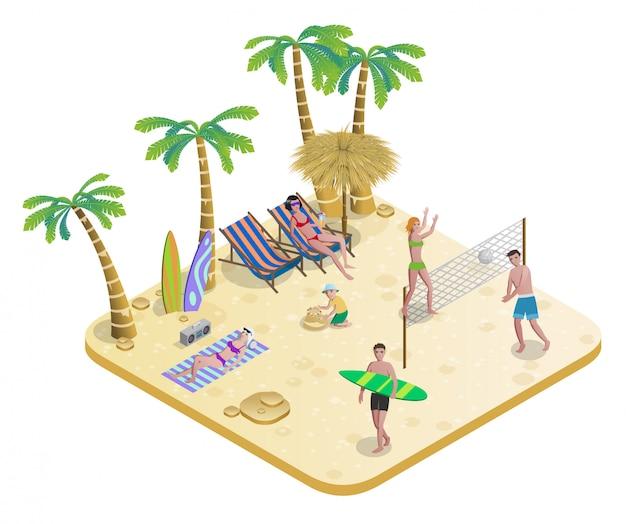 Izometryczne ludzie na koncepcji tropikalnej plaży
