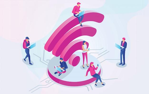 Izometryczne ludzie pracujący na laptopach siedzących na dużym znaku wifi w strefie bezpłatnego internetu