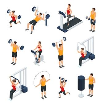 Izometryczne ludzie w kolekcji siłowni