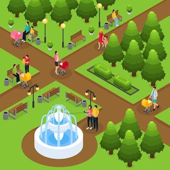 Izometryczne ludzie w szablonie parku publicznego z ojcami matek spacerującymi i bawiącymi się z dziećmi