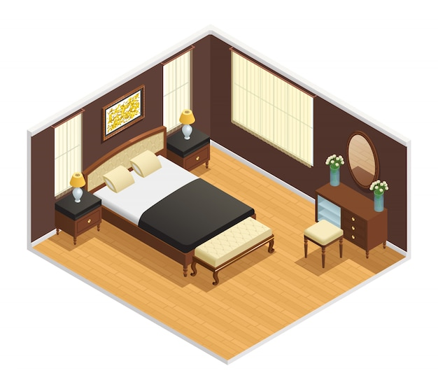 Izometryczne luksusowe wnętrze do sypialni z podwójnym łóżkiem