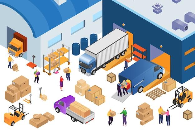 Izometryczne magazynowanie i sprzęt przemysłowy, ilustracja 3d. wózek widłowy przewożący palety ze skrzyniami, regały magazynowe, samochody ciężarowe, magazynierzy. dostawa i transport towarów.