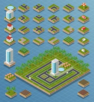 Izometryczne mapa miasta droga, drzewa i elementy budynku domu zestaw ilustracji wektorowych na białym tle.