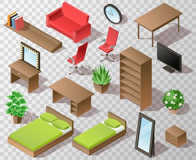 Izometryczne meble do salonu w kolorze brązowym z łóżkami krzesło biurowe stół telewizor lustro szafa garderoba rośliny i inne elementy wnętrza na przezroczystym tle z cieniami