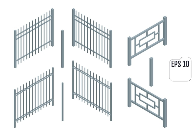 Izometryczne metalowe sekcje ogrodzenia. konstruktor wektor ogrodzenia.