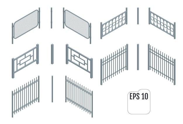 Izometryczne metalowe sekcje ogrodzenia.