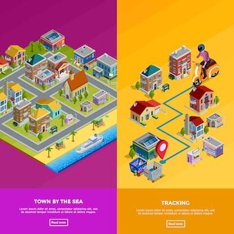 Izometryczne miasta banery