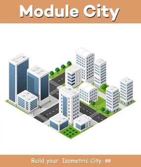 Izometryczne miasto miejskie