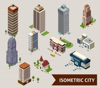 Izometryczne Miasto na białym tle ikony