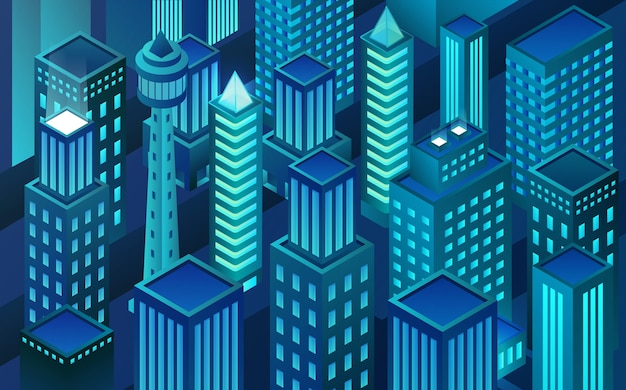 Izometryczne miasto rzeczywistości wirtualnej. zablokuj miasto sieciowe. wieżowce w nocy.
