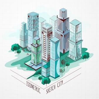 Izometryczne miasto szkic kolorowe