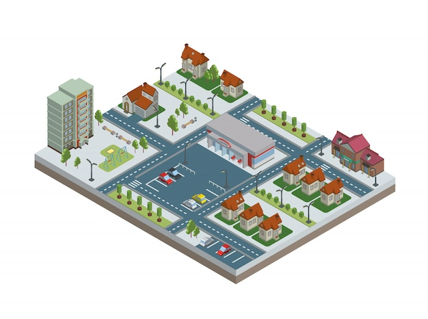 Izometryczne miasto z budynkami, parkingiem i sklepem. śródmieście i przedmieścia. ilustracja na białym tle.