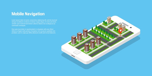 Izometryczne miasto z drogami i budynkami na smartfonie. mapa w aplikacji mobilnej. 3d ilustracji wektorowych. koncepcja nawigacji mobilnej.