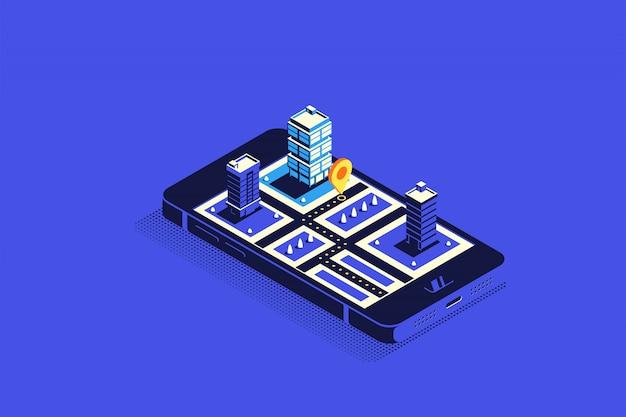 Izometryczne miasto z drogami i budynkami na smartfonie. mapa w aplikacji mobilnej.