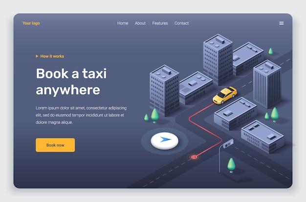 Izometryczne miasto z żółtą taksówką i lokalizacją pinezki. szablon strony docelowej.