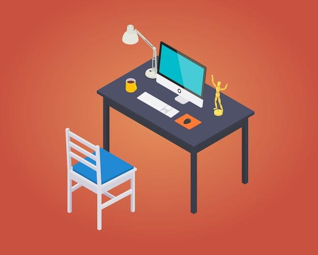 Izometryczne miejsce pracy w biurze