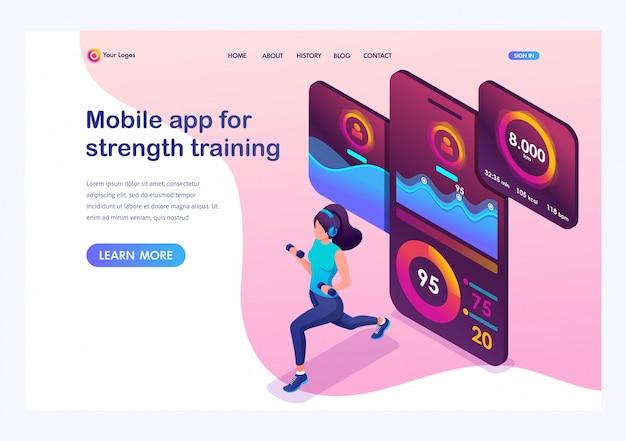 Izometryczne młoda dziewczyna podczas treningu siłowego śledzi aplikację mobilną za pomocą sygnału gps.