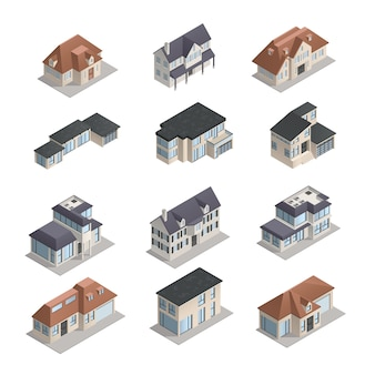 Izometryczne mpdern niskie podmiejskie domy o różnym kształcie zestaw izolowane