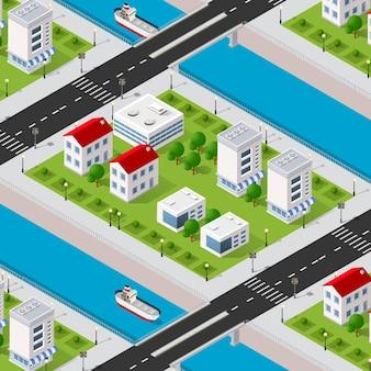 Izometryczne nabrzeże rzeki 3d dzielnicy miasta z domami, ulicami, ludźmi, samochodami.