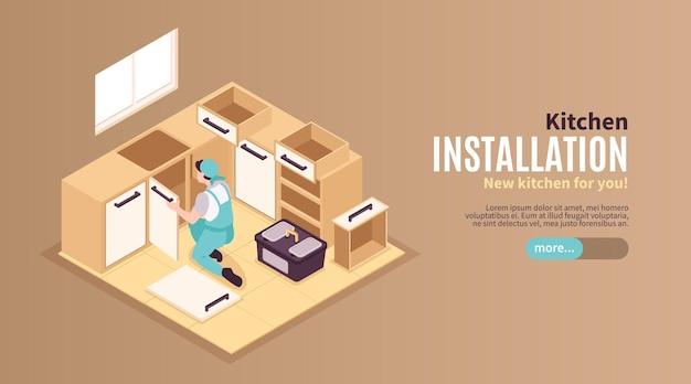 Izometryczne naprawy banera internetowego kuchni z przyciskiem suwaka, edytowalnym tekstem i ilustracją instalacji mebli mechanika