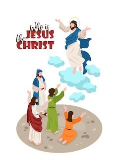 Izometryczne narracje biblijne z ludzkimi postaciami modlitw i jezusa chrystusa z edytowalnym tekstem ozdobnym