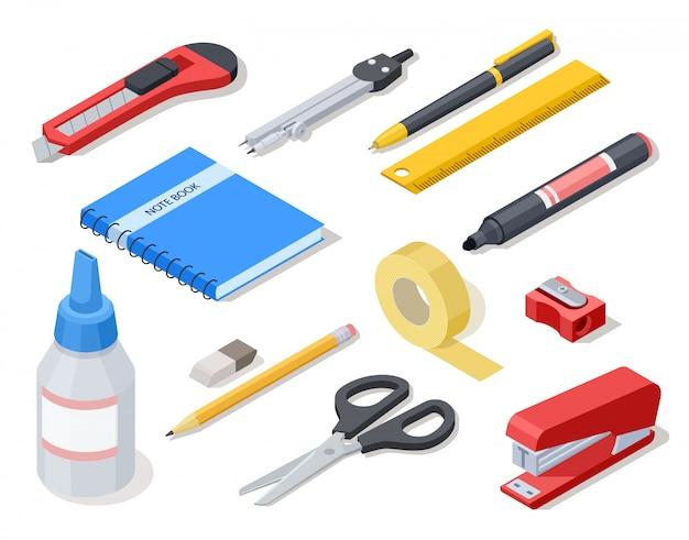 Izometryczne narzędzia biurowe. materiały i artykuły szkolne.