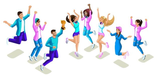 Izometryczne nastolatki skaczące, jasny design, pokolenie z, fajne dziewczyny i chłopcy, ludzie, telefony, gadżety