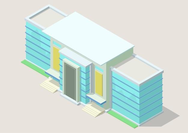 Izometryczne nowoczesne centrum biznesowe. budynek biurowy na białym tle