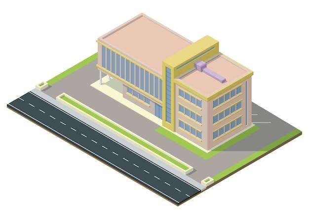 Izometryczne nowoczesne centrum biznesowe z autostradą. budynek biurowy na białym tle