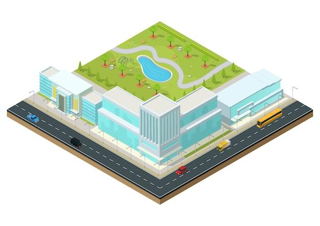 Izometryczne nowoczesne centrum biznesowe z parkiem, autostradą i samochodami. budynek biurowy na białym tle ilustracja.