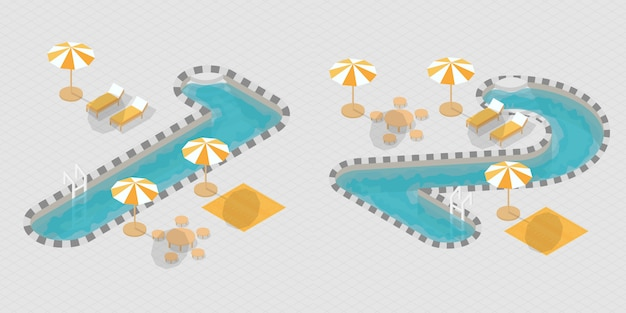 Izometryczne numery basenów 3d