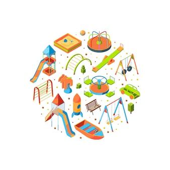 Izometryczne obiekty na placu zabaw