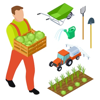 Izometryczne obiekty rolnika i sprzętu ogrodniczego