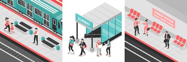 Izometryczne obszary metra metra zestaw ilustracji