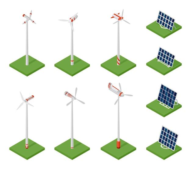 Izometryczne panele słoneczne i turbiny wiatrowe. pojęcie czystej energii. czysta ekologiczna moc. eko odnawialna energia elektryczna ze słońca i wiatru. ikona dla sieci web. ogniwo słoneczne i wiatraki.