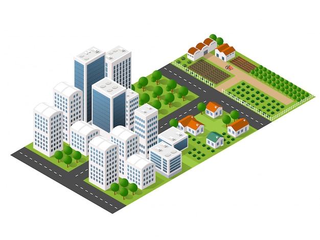 Izometryczne perspektywy miasta z ulicami, domy, drapacze chmur