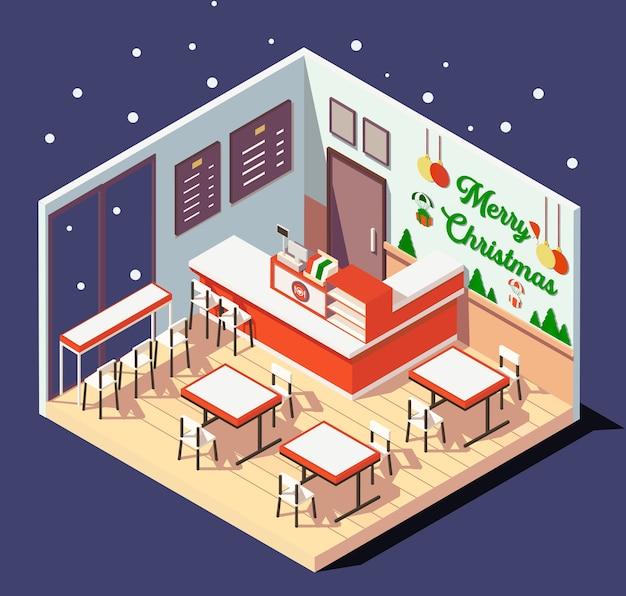 Izometryczne piękne wnętrze restauracji lub kawiarni w czasie świąt bożego narodzenia