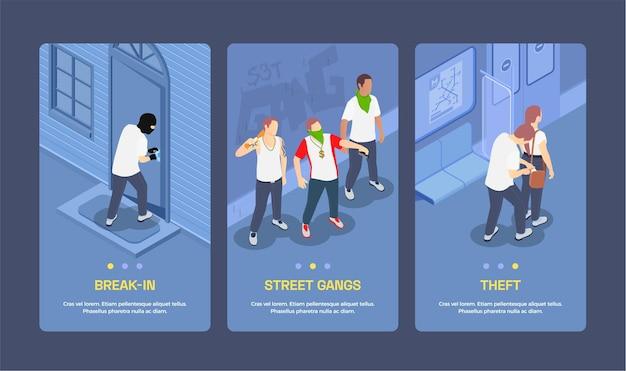 Izometryczne pionowe banery z gangami ulicznymi dokonującymi kradzieży i łamiącymi zamki