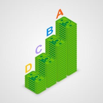 Izometryczne piramidy informacje sztuki pieniędzy. ilustracja wektorowa