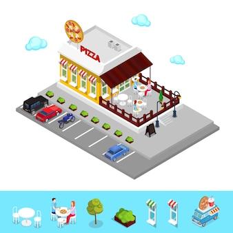 Izometryczne pizzeria. nowoczesna restauracja ze strefą parkingową. ludzie w pizzerii.