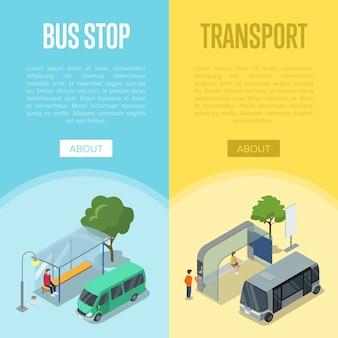 Izometryczne plakaty 3d dworca autobusowego