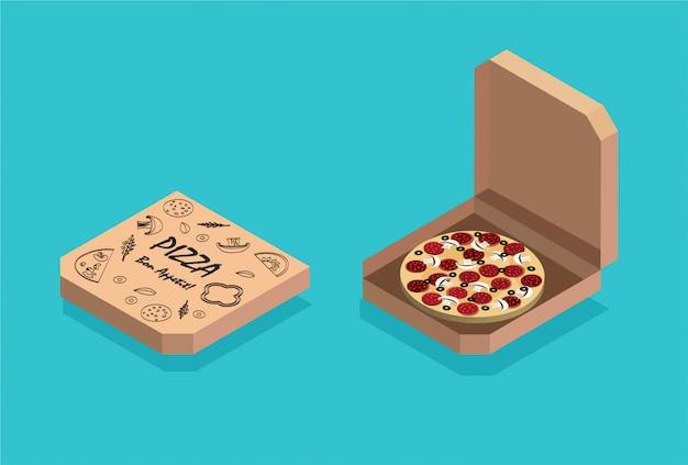 Izometryczne płaska konstrukcja pizzy na białym tle na niebieskim tle. tradycyjne włoskie jedzenie. ikona paczki lub pudełka. dostawa pizzy. ilustracja.
